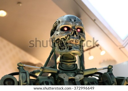 OSAKA, JAPAN - Feb 06, 2016 : Photo of the T-800 Endoskeleton from the Terminator 3D,one of the most famous attraction at Universal Studios JAPAN, Osaka, Japan.
