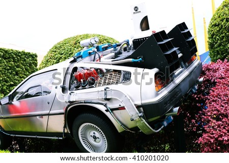 "OSAKA, JAPAN - Feb 12, 2016 : Use ""Ready Player One""movie. Photo of replica car of ""De Lorean"" form Back to the Future,one of the most famous attraction at Universal Studios Japan, Osaka, Japan."
