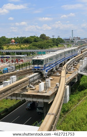 Osaka,Japan - July 29, 2016: Osaka monorail runs between the Osaka International Airport and the Kadoma City, etc. You can go to Senri-chuo Station, and Expo Memorial Park