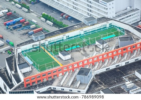 Osaka, Japan - July 12, 2016 : This rooftop football stadium taken from Observation Deck Cosmo Tower.