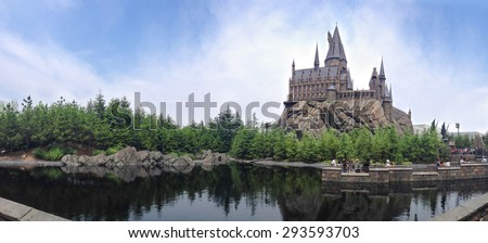 OSAKA, JAPAN - JUN 2, 2015 : Photo of Hogwarts School of Witchcraft and Wizardry replica at The Wizarding World of Harry Potter Attraction, Universal Studio, Osaka, Japan. Panorama view, Toned Photo.