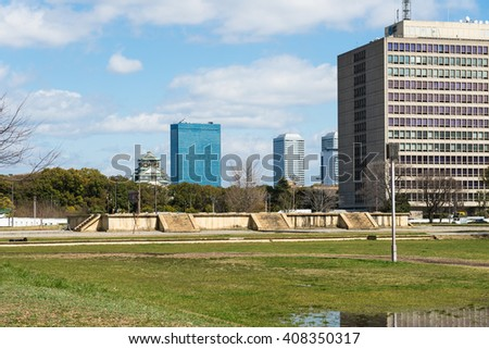 OSAKA, JAPAN - MARCH 15, 2016: Remains of Naniwanomiya palace in Osaka, Japan.