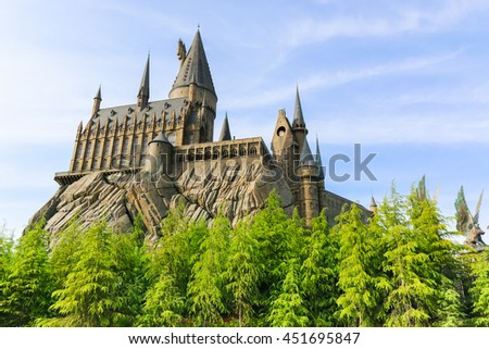 OSAKA, JAPAN - May 5, 2016: Universal Studios Japan (USJ). Theme Hogwarts School of Witchcraft and Wizardry in Harry Potter. located in Osaka, is one of four Universal Studios theme parks.