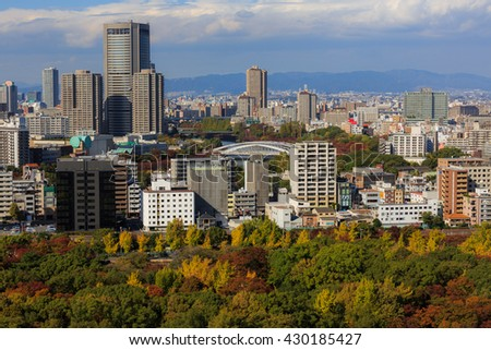 OSAKA, JAPAN - Nov 06, 2015: Osaka city view from Osaka Castle