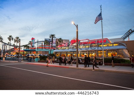 Osaka, Japan - NOV 10, 2015: Universal CityWalk Hollywood is a three block entertainment, dining and shopping promenade located next to theme park at Universal Studios Theme Park in Osaka, Japan.
