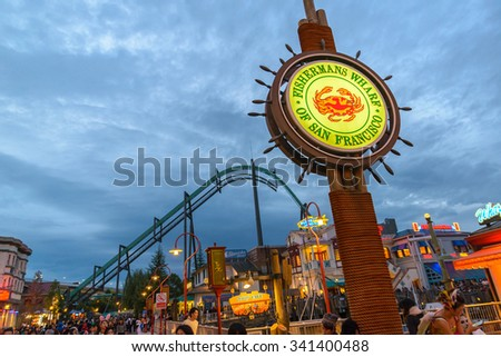 OSAKA, JAPAN - OCT 31, 2015: Universal Studios Japan (USJ). According to 2014 Theme Index Global Attraction Attendance Report, USJ is ranked fifth among the top 25 amusement parks worldwide.