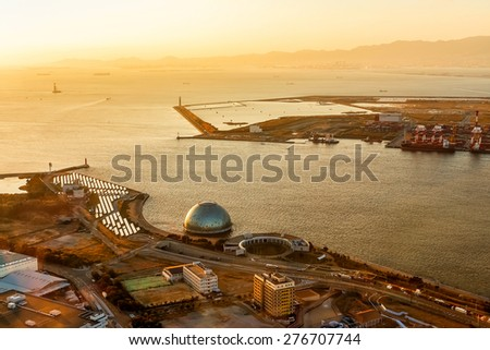 OSAKA, JAPAN - OCTOBER 28: Osaka Bay in Osaka, Japan on October 28, 2014. Industries locate around Osaka Bay because there are skilled and plentiful workforce, many port facilities, efficient linkages