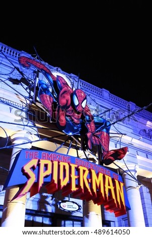 OSAKA, JAPAN - Sep 24, 2016 : Photo of the Amazing Adventure of Spider Man, one of the most famous attraction rides at Universal Studio JAPAN, Osaka, Japan.