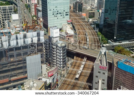 OSAKA, JAPAN - SEPTEMBER 22, 2015: Osaka city train view from The Hep Five ferris wheel.
