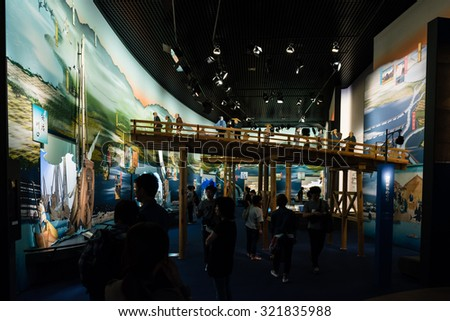 OSAKA, JAPAN - SEPTEMBER 21, 2015: 'Tour the water city' exhibition in Osaka Museum of History. An exhibit about the middle ages and early modern history of Osaka.