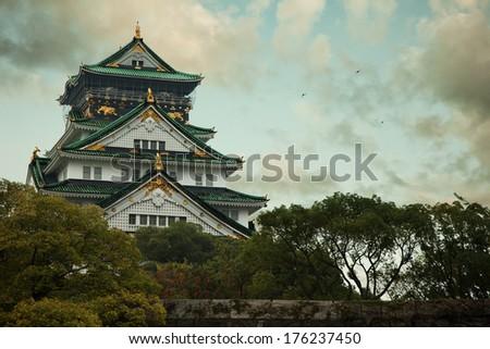 Osaka's catle in japan - stock photo