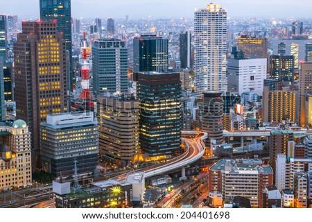 Osaka Skyline Kansai , Japan - stock photo