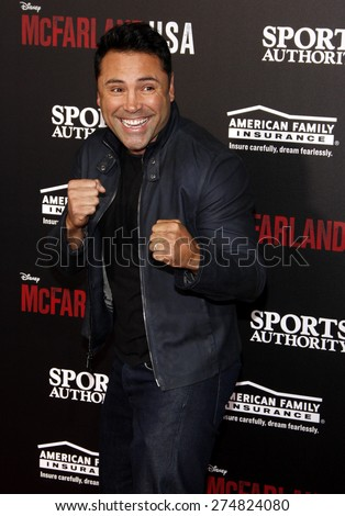 Oscar de la Hoya at the Los Angeles premiere of 'McFarland, USA' held at the El Capitan Theater in Hollywood on February 9, 2015. - stock photo