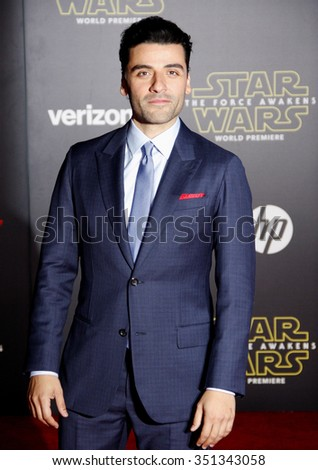 Oscar Isaac at the World premiere of 'Star Wars: The Force Awakens' held at the TCL Chinese Theatre in Hollywood, USA on December 14, 2015. - stock photo