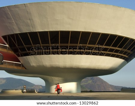 Oscar Niemeyer's Niterói Contemporary Art Museum, in Rio de Janeiro, Brazil - stock photo