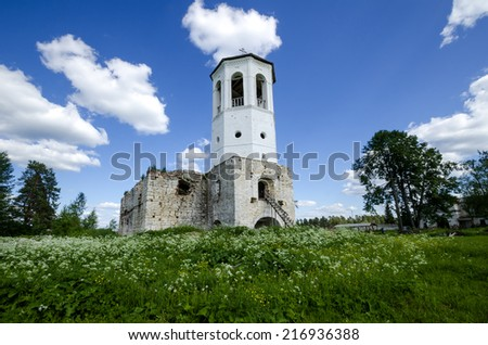 Oshevensky Monastery (Russia, Arkhangelsk region). Assumption Cathedral and bell tower
