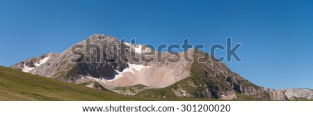 Oshten north-east mountainside. Lago-Naki plateau, Caucasus, Russia, summer. Panorama. - stock photo