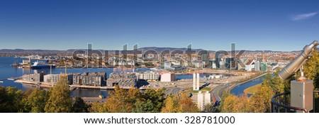 Oslo autumn Norway, downtown - stock photo