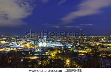 Oslo before dawn, Norway - stock photo