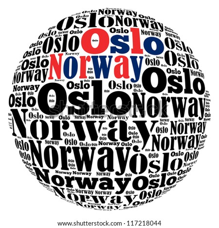 Oslo capital city of Norway info-text graphics and arrangement concept on white background (word cloud) - stock photo
