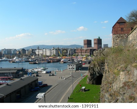 Oslo City Hall seen from Akershus fortress. - stock photo