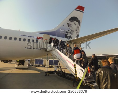 OSLO GARDERMOEN, NORWAY - NOVEMBER 3:Aircrafts at Oslo Gardermoen International Airport on november 3, 2014 in Oslo. The airport has biggest passenger flow in Norway - stock photo