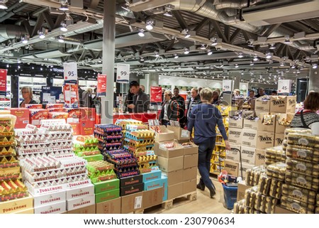 OSLO GARDERMOEN, NORWAY -  NOVEMBER 2:Interior of Duty Free Shop at Oslo Gardermoen International Airport on november 2, 2014 in Oslo. The airport has biggest passenger flow in Norway. - stock photo