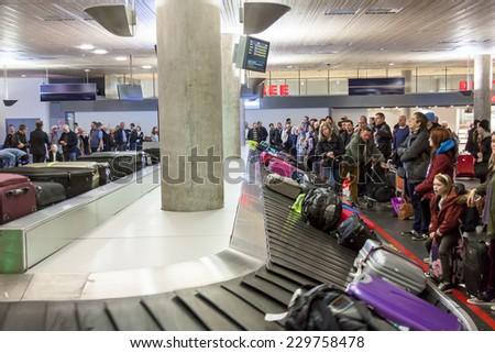OSLO GARDERMOEN, NORWAY -  NOVEMBER 2:Interior of Oslo Gardermoen International Airport on november 2, 2014 in Oslo. The airport has biggest passenger flow in Norway. - stock photo