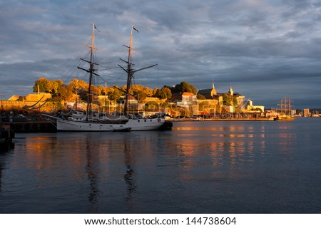 Oslo harbor, Norway - stock photo