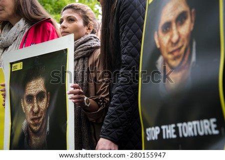OSLO - MAY 19: Ensaf Haidar joins activists protesting at the Saudi Arabian embassy in Oslo, Norway, to demand the release of her husband, imprisoned Saudi blogger Raif Badawi, May 19, 2015.