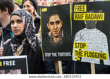 OSLO - MAY 19: Human rights activists protest at the Saudi Arabian embassy in Oslo, Norway, to demand the release of imprisoned Saudi blogger Raif Badawi, May 19, 2015.