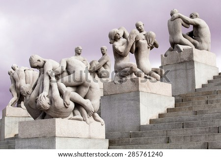 OSLO - NORWAY APRIL 21: Sculptures created by world famous Gustav in Vigeland Park. This is the world's largest sculpture park made by a single artist in OSLO, NORWAY on  APRIL 21, 2012 - stock photo