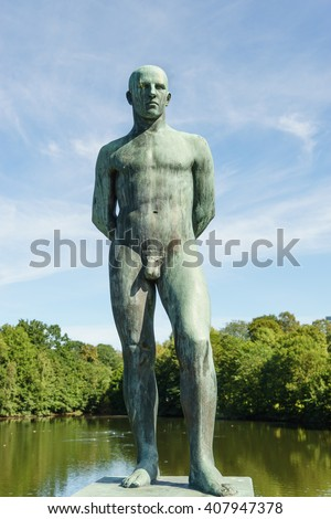 OSLO, NORWAY - AUGUST 13, 2015: Sculpture of man by Gustav Vigeland (1869-1943) in the Vigeland Park. - stock photo