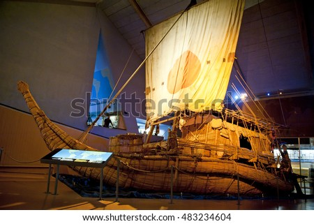 OSLO, NORWAY - AUGUST 27, 2016: The Ra II in the Kon-Tiki Museum in Oslo.