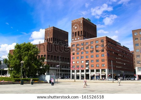 OSLO, NORWAY - AUGUST 1: Town Hall in Oslo, Norway on August 1, 2012