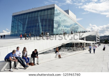 OSLO, NORWAY - AUGUST 17: View on a side of the National Oslo Opera House on August 17, 2012 in Oslo, Norway, wich was opened on April 12, 2008. - stock photo