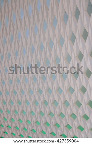 OSLO, NORWAY - CIRCA AUGUST 2015: Closeup detail of the perforated wall panel which covers roof supports in the lobby of Oslo Opera House, designed by Norwegian architecture firm Snohetta. - stock photo