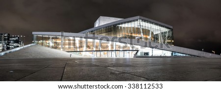 OSLO, NORWAY  - CIRCA NOVEMBER 2015: Panoramic view of the Oslo Opera House, home of The Norwegian National Opera and Ballet - modern architecture background