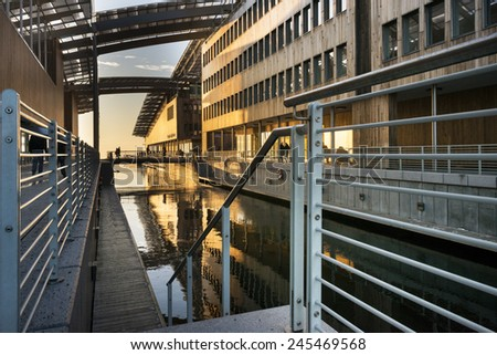 OSLO, NORWAY - DECEMBER 31, 2014: Astrup Fearnley Museum of Modern Art . It was built as part of Tjuvholmen Icon Complex (2006-2012) in Aker Brygge district and was designed by Renzo Piano Building.