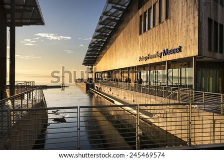 OSLO, NORWAY - DECEMBER 31, 2014: Astrup Fearnley Museum of Modern Art . It was built as part of Tjuvholmen Icon Complex (2006-2012) in Aker Brygge district and was designed by Renzo Piano Building. - stock photo