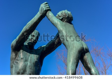 Oslo, Norway - February 27, 2016: Sculpture at Vigeland Park in Oslo, Norway. - stock photo