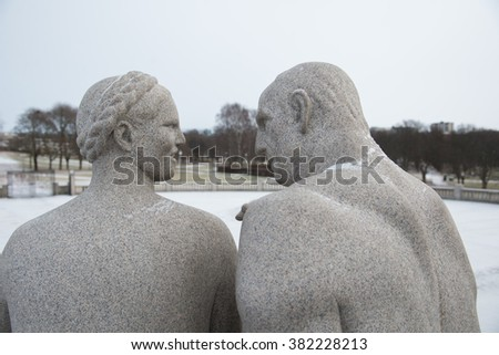 OSLO, NORWAY - February 13 :The Vigeland Park in Oslo, Norway on February 13 ,  2016. The most famous park in Norway created by sculptor Gustav Vigeland in the years 1907-1942.