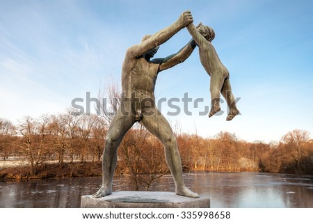 OSLO, NORWAY - JANUARY, 2012: Sculpture in Vigeland park Oslo.  - stock photo