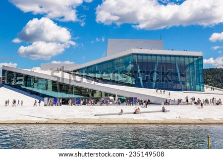 OSLO, NORWAY - JULY 29: The Oslo Opera House is the home of The Norwegian National Opera and Ballet, and the national opera theatre in Norway in Oslo, Norway on July 29, 2014 - stock photo
