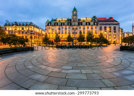 OSLO, NORWAY - JULY 13: The plaza in front of the Parliament and the Grand Hotel on July 13 2015 in Oslo, Norway. The Nobel Prize winners stay at this hotel.