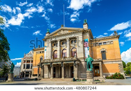 Oslo, Norway - July 7, 2016: View of the National Theatre. It is one of Norway's largest and most prominent venues for performance of dramatic arts