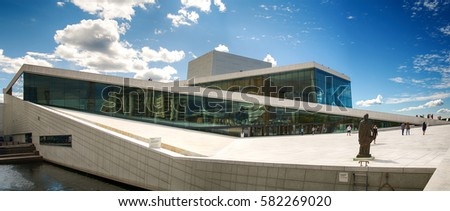 Oslo, Norway - July 18, 2016: View on the beautiful building of the Oslo Opera House. Oslo Opera House is the home of The Norwegian National Opera and Ballet, and the national opera theatre in Norway.