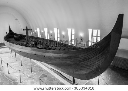 OSLO, NORWAY - JULY, 7: Viking longship in the Viking museum on July 7, 2015 in Oslo, Norway. - stock photo