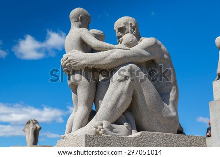 OSLO, NORWAY - JUNE 15, 2015: The Vigeland Park. Sculptures of Gustav Vigeland. Fragment of the Monolith composition.  in Oslo, Norway on June 15, 2015 - stock photo