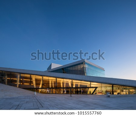 Oslo, Norway - Nov 11, 2017: Entrance to the Oslo opera building, home of The Norwegian National Opera and Ballet seen during sunset.